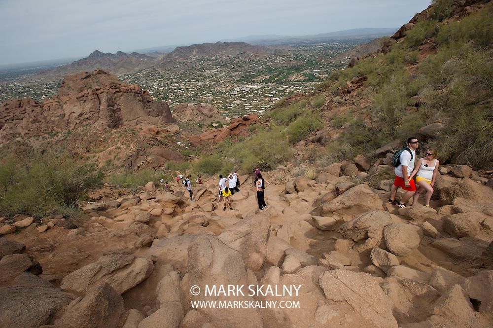Hiking Echo Canyon Trail on Camelback Mountain in Phoenix, Arizona.