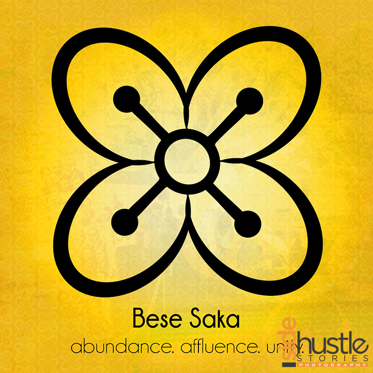 """Bese Saka: abundance. affluence. unity.<br /> <br /> This yellow poster features the Adinkra symbol Bese Saka, which is a symbol of the abundance, togetherness and unity. The literal translation* of Bese Saka in Akan is """"bunch of cola nuts"""", but the symbolic meaning of Bese Saka can not be limited to a single word. Adinkra symbols are West African designs that have represented elements of Ghanaian values and culture for hundreds of years. <br /> <br /> <br /> *Literal translation from the book: """"The Adinkra Dictionary - A Visual Primer on the Language of Adinkra"""" and my parents. Akan (or Twi) is a language spoken in both Ghana and Côte d'Ivoire."""