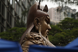 June 22, 2017 - Hong Kong, CHINA - A large bronze cast statue of Guan Gong, a popular Chinese folk hero ( Warrior God ) that stands 6 meters tall ( 20ft ) is on public display at the financial centre in Central to mark the celebration of 20th anniversary of Hong Kongs HANDOVER to China. June 22, 2017.Hong Kong.ZUMA/Liau Chung Ren (Credit Image: © Liau Chung Ren via ZUMA Wire)
