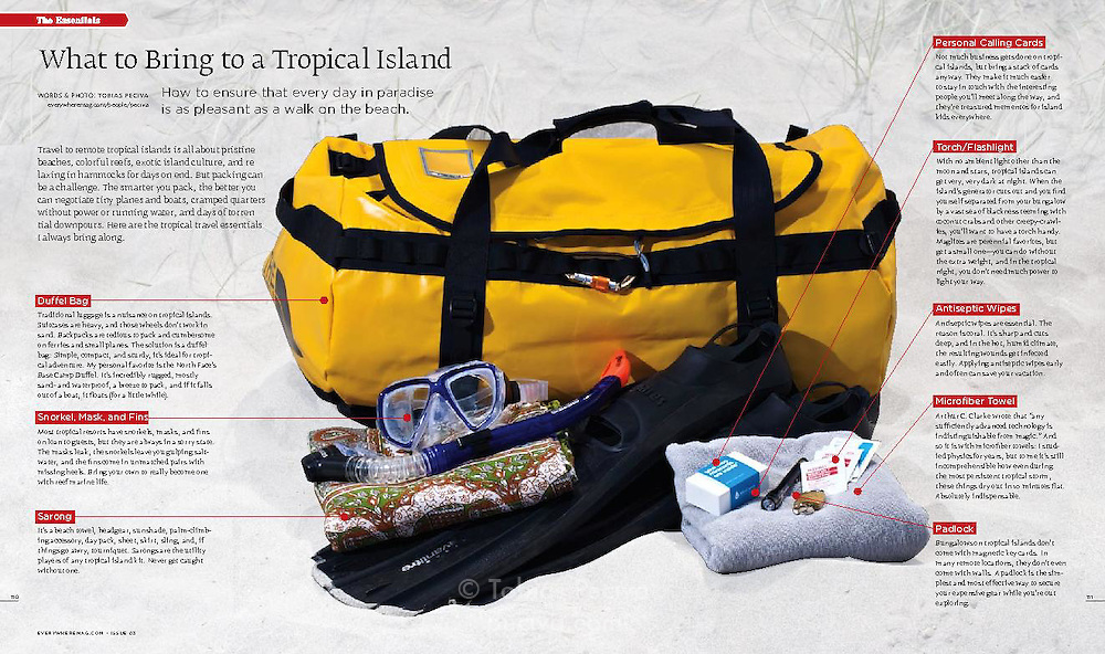 Article about packing for tropical island travel. Words and photo by Tobias Peciva. Published in issue 3 of travel magazine Everywhere.