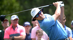 May 4, 2019 - Charlotte, NC, USA - Joel Dahmen follows through on his drive from the 3rd tee at Quail Hollow Club in Charlotte, N.C., during third-round action of the Wells Fargo Championship on Saturday, May 4, 2019. (Credit Image: © TNS via ZUMA Wire)
