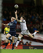 Gareth Anscombe of Cardiff Blues (l) catches the ball ahead of Sam Davies of the Ospreys to run in and score a try in the 2nd half. Guinness Pro12 rugby match, Judgement day, Cardiff Blues v Ospreys  at the Principality Stadium in Cardiff, South Wales on Saturday 15th April 2017. <br /> pic by Andrew Orchard, Andrew Orchard sports photography.