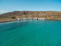 Aerial view of coves in Pozo Negro village, Fuerteventura, Canary Islands.