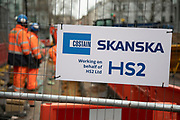 With an imminent decision expected from the government which will determine if the controversial transport project will continue to go ahead, construction workers continue their job on HS2 at Euston Railway Station on 30th January 2020 in London, England, United Kingdom. High Speed 2 is a high-speed railway in the United Kingdom, partly under construction. Parliament approved plans for the first section in 2017, with clearance work being undertaken for the line and stations.
