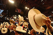 The Texas Delegaates cheer during the third night of the Republican National Convention in Manhattan, NY. 9/1/2004 Photo by Jennifer S. Altman