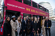 Mayor of London Sadiq Khan poses for photographs with a group of European Londoners including immigration lawyers and volunteers to promote the launch of a We are all Londoners bus that will provide advice across the capital on Settled Status applications opposite City Hall in London, England, United Kingdom on 29th March 2019. Most European citizens currently living in Britain will need to apply for settled status or pre-settled status depending on how long they have been living and working here and to claim benefits after Brexit. EU nationals who can prove residency for five years will be granted so-called settled status until the end of 2020. Those in Britain for less time can apply for the pre-settled category which will allow them to remain until they reach the five year mark and can then reapply for settled status.