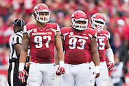 FAYETTEVILLE, AR - OCTOBER 24:  Tevin Beanum #97 and DeMarcus Hodge #93 of the Arkansas Razorbacks look over the offense during a game against the Auburn Tigers at Razorback Stadium on October 24, 2015 in Fayetteville, Arkansas.  The Razorbacks defeated the Tigers in 4 OT's 54-46.  (Photo by Wesley Hitt/Getty Images) *** Local Caption *** Tevin Beanum; DeMarcus Hodge