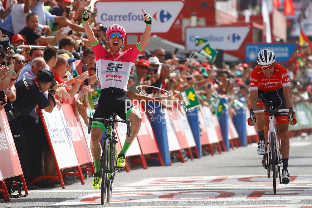 Arrival sprint, Simon Clarke (AUS - EF Education First - Drapac), Bauke Mollema (NED - Trek - Segafredo), during the UCI World Tour, Tour of Spain (Vuelta) 2018, Stage 5, Granada - Roquetas de Mar 188,7 km in Spain, on August 29th, 2018 - Photo Luca Bettini / BettiniPhoto / ProSportsImages / DPPI