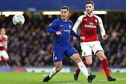 10 January 2018 - Football League Cup - Chelsea v Arsenal - Eden Hazard of Chelsea looks up for the ball - Photo: Charlotte Wilson / Offside