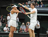 Lawn Tennis - 2021 All England Championships - Men's Final Sunday - Wimbledon - Mixed Doubles Final on Centre Court. Neal Skupski and Desirae Krawczyk v Joe Salisbury and Harriet Dart<br /> <br /> Neal Skupski and Desirae Krawczyk celebrate after winning match point.<br /> <br /> <br /> Credit : COLORSPORT / Andrew Cowie