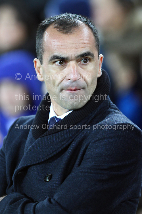 Everton Manager Roberto Martinez looks on prior to kick off. Barclays Premier league match, Everton v Queens Park Rangers at Goodison Park in Liverpool, Merseyside on Monday 15th December 2014.<br /> pic by Chris Stading, Andrew Orchard sports photography.