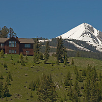 A controversial new home under Lone Mountain intrudes upon the viewshed near Big Sky, Montana