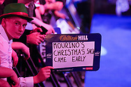 Mourino (sic) sign, Mourinho's Christmas sack came early sign during the Darts World Championship 2018 at Alexandra Palace, London, United Kingdom on 18 December 2018.