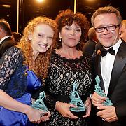 NLD/Amsterdam/20111002 - Uitreiking John Kraaijkamp awards 2011, Abke Bruins, Henriette Tol en regisseur ............
