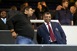 Queens Park Rangers co-owner Ruben Emir Gnanalingam (left) with chairman Tony Fernandes (right) during the Sky Bet Championship match at Loftus Road, London