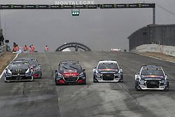 April 29, 2018 - Montalegre, Vila Real, Portugal - Timmy HANSEN (SWE) in Peugeot 208 of Team Peugeot  Total (2L), Sebastien LOEB (FRA) in Peugeot 208 of Team Peugeot  Total (3L), Petter SOLBERG (NOR) in Volkswagen Polo R of PSRX Volkswagen Sweden (1L), Mattias EKSTROM (SWE) in Audi Sl of EKS Audi Sport (4L) and Andreas BAKKERUD (NOR) in Audi Sl of EKS Audi Sport (R) in action during the World RX of Portugal 2018, at Montalegre International Circuit, on April 29, 2018 in Montalegre, Portugal. (Credit Image: © Dpi/NurPhoto via ZUMA Press)