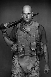 Lcpl. Travis Musselman, 22, Ligonier, Indiana, Second Platoon, Kilo Co., 3rd Battalion 1st Marines, 1st Marine Division, United States Marine Corps, at the company's firm base in Haditha, Iraq on Sunday Oct. 22, 2005.
