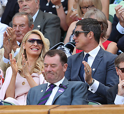 LONDON, ENGLAND - JULY 03: Carlo Nero and Joely Richardson, Vernon Kay and Tess Daly sit in the Royal Box as they attend day two of the Wimbledon Tennis Championships at the All England Lawn Tennis and Croquet Club on July 3, 2018 in London, England...People:  Vernon Kay and Tess Daly (Credit Image: © SMG via ZUMA Wire)