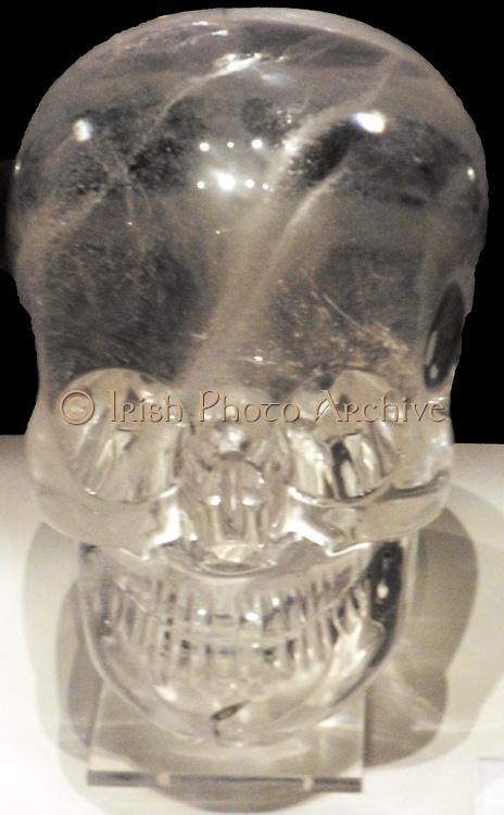 Rock crystal skull.  Late 19th century AD.  Human skull hardstone carvings made from clear or milky quartz rock.  Claimed to be pre-Columbian in origin.