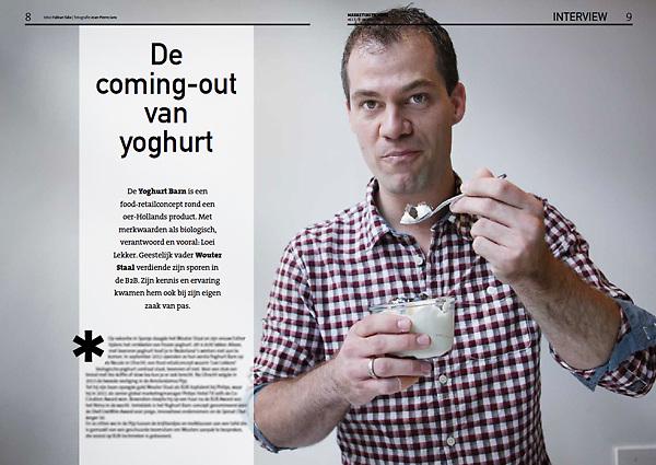 Tekst en beeld zijn auteursrechtelijk beschermd en het is dan ook verboden zonder toestemming van auteur, fotograaf en/of uitgever iets hiervan te publiceren <br /> <br /> Marketing Tribune nr 17: Wouter Staal van de Yoghurt Barn in zijn winkel in de 1ste Van der Helststraat 80.