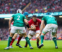 Josh Navidi of Wales under pressure from Rory Best of Ireland<br /> <br /> Photographer Simon King/Replay Images<br /> <br /> Six Nations Round 5 - Wales v Ireland - Saturday 16th March 2019 - Principality Stadium - Cardiff<br /> <br /> World Copyright © Replay Images . All rights reserved. info@replayimages.co.uk - http://replayimages.co.uk