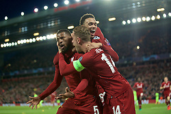 BRITAIN-LIVERPOOL-FOOTBALL-UEFA CHAMPIONS LEAGUE-LIVERPOOL VS FC BARCELONA..(190507) -- LIVERPOOL, May 7, 2019  Liverpool's Georginio Wijnaldum (L) celebrates scoring with teammates during the UEFA Champions League Semi-Final second Leg match between Liverpool FC and FC Barcelona at Anfield in Liverpool, Britain on May 7, 2019. Liverpool won 4-3 on aggregate and reached the final. FOR EDITORIAL USE ONLY. NOT FOR SALE FOR MARKETING OR ADVERTISING CAMPAIGNS. NO USE WITH UNAUTHORIZED AUDIO, VIDEO, DATA, FIXTURE LISTS, CLUBLEAGUE LOGOS OR ''LIVE'' SERVICES. ONLINE IN-MATCH USE LIMITED TO 45 IMAGES, NO VIDEO EMULATION. NO USE IN BETTING, GAMES OR SINGLE CLUBLEAGUEPLAYER PUBLICATIONS. (Credit Image: © Xinhua via ZUMA Wire)
