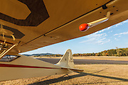Counter balance on aileron of Mathew Northway's Interstate Cadet, NC37369, at Creswell Airport.