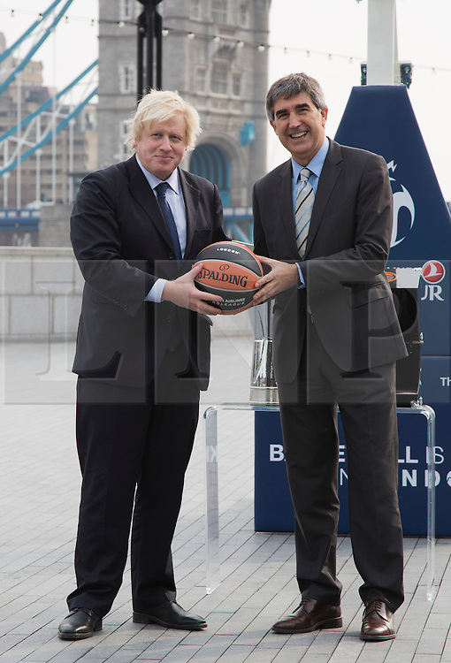 © Licensed to London News Pictures. 08/04/2013. London, England. Boris Johnson with Jordi Bertomeu, CEO and President of Euroleague Basketball. London Mayor Boris Johnson promotes the 2013 Turkish Airlines Euroleague Final Four to be played at The O2 from 10th - 12th May 2013, and to reveal the programme of free activities that will take place in conjunction with the event to get Londoners involved with basketball. Photo credit: Bettina Strenske/LNP