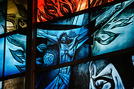 Stained glass depicting the crucifixion of Jesus Christ at Grace Lutheran Church on Tuesday, July 14, 2020, in St. Louis. LCMS Communications/Erik M. Lunsford