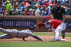 May 9, 2018 - Arlington, TX, U.S. - ARLINGTON, TX - MAY 09: Detroit Tigers catcher Grayson Greiner (17) dives to the bag to avoid a tag by Texas Rangers first baseman Joey Gallo (13) during the game between the Detroit Tigers and the Texas Rangers on May 9, 2018 at Globe Life Park in Arlington, TX. (Photo by George Walker/Icon Sportswire) (Credit Image: © George Walker/Icon SMI via ZUMA Press)
