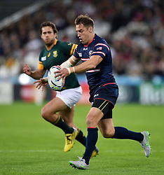 Chris Wyles of the USA looks to kick - Mandatory byline: Patrick Khachfe/JMP - 07966 386802 - 07/10/2015 - RUGBY UNION - The Stadium, Queen Elizabeth Olympic Park - London, England - South Africa v USA - Rugby World Cup 2015 Pool B.