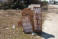 Help needed sign in Mexico Beach Florida after Hurricane Michael destoryed the area.