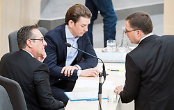 17.04.2018, Hofburg, Wien, AUT, Parlament, Sitzung des Nationalrates mit Generaldebatte über das Doppelbudget 2018 und 2019, im Bild Vizekanzler Heinz-Christian Strache (FPÖ), Bundeskanzler Sebastian Kurz (ÖVP) und ÖVP-Klubobmann August Wöginger // Austrian Vice Chancellor Heinz-Christian Strache, Austrian Federal Chancellor Sebastian Kurz and Party whip of the Austrian Peoples Party (OeVP) August Woeginger during meeting of the National Council of Austria regarding on federal budget for 2018 and 2019 at Hofburg palace in Vienna, Austria on 2018/04/17, EXPA Pictures © 2018, PhotoCredit: EXPA/ Michael Gruber
