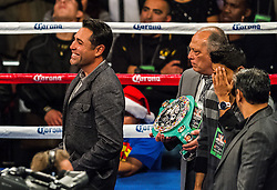 LOS ANGELES, CA - DEC 15: Golden Boy Promotions Founder Oscar De La Hoya celebrates after Amir 'King' Khan stopped Carlos Molina in the 10th round of their bout at the Los Angeles Memorial Sports Arena in Los Angeles, CA 2012/12/15. Amir Khan defeated Carlos Molina by TKO, after referee Jack Reiss stopped the fight after the 10th round after consulting with Molina and his corner. Byline and/or web usage link must  read PHOTO: © 2012 Eduardo E. Silva/SILVEX.PHOTOSHELTER.COM.