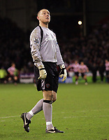 Photo: Paul Thomas.<br /> Sheffield United v Aston Villa. The Barclays Premiership. 11/12/2006.<br /> <br /> Paddy Kenny (Sheff Utd keeper) celebrates their second goal, which takes the lead, in front of the Villa fans.