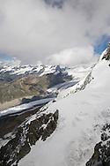 View from Kl. Matterhorn towards the Gornergrat across the Gornergletscher, nr Zermatt, Switzerland
