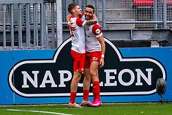 Django Warmerdam of FC Utrecht, Mimoun Mahi of FC Utrecht scores the 1-0 during eredivisie round 03 between FC Utrecht and RKC at Nieuw Galgenwaard stadium on September 27, 2020 in Utrecht, Netherlands