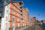 Converted maltings apartments, Wet Dock waterside redevelopment, Ipswich, England