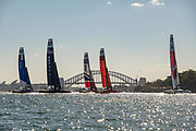 The fleet heads for the first mark in race two on day one of competition. Event 1 Season 1 SailGP event in Sydney Harbour, Sydney, Australia. 15 February 2019. Photo: Chris Cameron for SailGP. Handout image supplied by SailGP