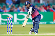 England womens cricket player Sarah Taylor (wk)  hits a boundary in the opening over during the ICC Women's World Cup match between England and Pakistan at the Fischer County Ground, Grace Road, Leicester, United Kingdom on 27 June 2017. Photo by Simon Davies.