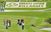 28-7-2011: The leader Jeev Milkha Singh plays his second shot to the 18th green at the Irish Open in Killarney on Thursday..Picture by Don MacMonagle