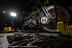 Andy Kaindl of Germany set up a great shop in the hotel parking lot to work on his 4-cylinder 1915 Henderson class-2 motorcycle in Cape Girardeau during the Motorcycle Cannonball Race of the Century. Stage-5 from Bloomington, IN to Cape Girardeau, MO. USA. Wednesday September 14, 2016. Photography ©2016 Michael Lichter.