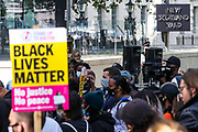 "Hundreds of demonstrators gathered outside New Scotland Yard on Saturday, Sept 12, 2020 - to denounce the ""over-policing of black communities"" through tactics including stop and search and police use of stun guns. The Metropolitan police commissioner Dame Cressida Dick is facing calls to step down from Black Lives Matter activists who say she has ""failed to acknowledge"" racism within the force. (VXP Photo/ Vudi Xhymshiti)"