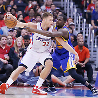21 April 2014: Los Angeles Clippers forward Blake Griffin (32) posts up Golden State Warriors forward Draymond Green (23) during the Los Angeles Clippers 138-98 victory over the Golden State Warriors, during Game Two of the Western Conference Quarterfinals of the NBA Playoffs, at the Staples Center, Los Angeles, California, USA.
