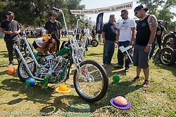 BF8 Invited builder Ryan Grossman's custom 1947 Harley-Davidson Knucklehead at the Born Free Motorcycle Show-8 at Oak Canyon Ranch. Silverado, CA, USA. Saturday June 25, 2016.  Photography ©2016 Michael Lichter.