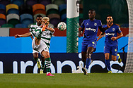 Pedro Gonçalves (Pote) in an acrobatic pass during the Liga NOS match between Sporting Lisbon and Belenenses SAD at Estadio Jose Alvalade, Lisbon, Portugal on 21 April 2021.