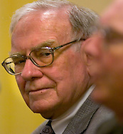 Omaha, Neb 5/7/06 Warren Buffett  looks at Charlie Munger as he answes questions at the Berkshire Hathaway annual meeting press conference at the Marriott Hotel Sunday afternoon..(Chris Machian/Prairie Pixel Group)