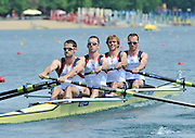 Belgrade, SERBIA. 2012 FISA World Cup I. GBR LM4-, Bow. Peter CHAMBERS, Rob WILLIAMS Richard CHAMBERS and Chris BARTLEY    Friday  04/05/2012 [Mandatory Credit. Peter Spurrier/Intersport Images]
