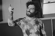 Leftist radical Yippie  ( Youth International Party )  co founder Jerry Rubin speaks to a crowd in a Cincinnati, Ohio synagogue in 1968.