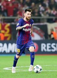 ATHENS, Nov. 1, 2017  Lionel Messi of Barcelona competes during the UEFA Champions League group D match between Olympiacos and Barcelona in Athens, Greece, on Oct. 31, 2017. The match ended with a 0-0 tie. (Credit Image: © Lefteris Partsalis/Xinhua via ZUMA Wire)